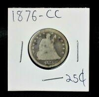 1876-CC Seated Liberty Quarter Dollar 25c~90% Silver~!