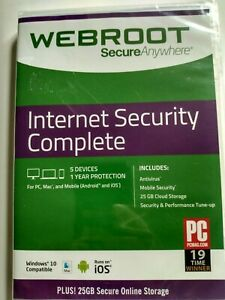 Webroot Secure Anywhere Internet Security Complete, 5 Devices / 1-Year  ** NEW
