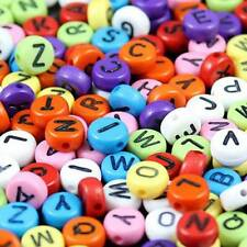 100Pcs Colorful Alphabet Letter Coin Round Flat Spacer Beads For DIY Jewelry