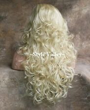 Light Blonde 3/4 Fall Hair Piece Bleach Long Curly Layers Half Wig Hairpiece