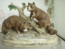 Porcelain Raccoons Bottle, Bud Hastin Enterprises, Collector's Art Ltd