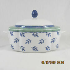 Villeroy & Boch Switch 3 Oval Covered Vegetable dish white blue leaves green ban
