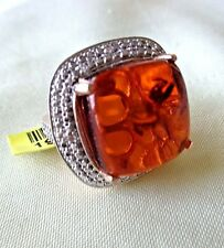 Natural Baltic Amber Ring in Sterling Silver w/14k Rose Gold Overlay sz7 TGW8cts