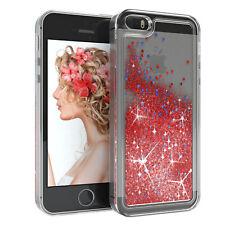 Für Apple iPhone 5 5S SE Glitzer Hülle Flüssig Silikon Case Handy Cover Soft Rot