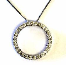 "14k white gold 1.6ct SI1 VS2 G diamond eternity circle pendant 8.4g 18"" necklace"