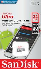 SanDisk 32GB Micro SD SDHC Ultra Class 10 80MB TF Mobile Memory Card Samsung 32G