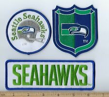 Lot of 3 Large Seattle Seahawks Patch Old Retro Logo Throwback (sew or iron on)