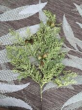 "CYPRESS GLITTER GREEN STEM WITH PINE CONES 26"" Pick"