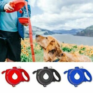 USA 2In1 Dog Leash Automatic Retractable With Water Bottle Bowl Multi-function