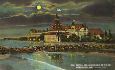 HOTEL DEL CORONADO BY NIGHT CALIFORNIA.  VTG LINEN POSTCARD VICTORIAN