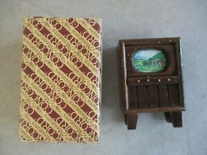 VINTAGE CONCORD MINIATURES WOODEN DOLLHOUSE TV TELEVISION IN ORIGINAL BOX