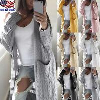 Women Long Sleeve Open Front Knitted Cardigan Sweater Casual Outwear Coat Jacket