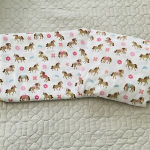 Circo Horse Pretty Pony 2 -Pc Set Twin 1 Flat 1 Fitted Sheet Horses Pink Flower