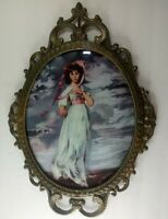 J. L. C. New York Italian Antique Convex Bubble Glass Portrait Brass Frame 17x12