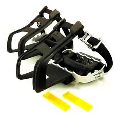 Wellgo Dual Purpose Toe Clip Bicycle Pedals.Flat pedals with Toeclips and Straps