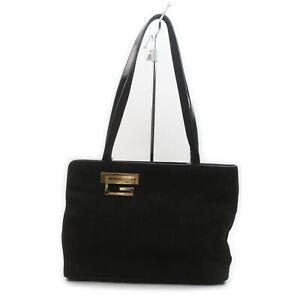 Gucci Shoulder Bag  Black Suede Leather 1902598
