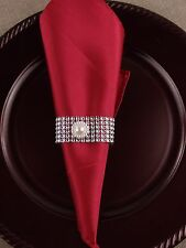 USA Seller - 10pc Napkin Ring, Bling Ribbon with Pearl