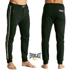 Pantalone da uomo EVERLAST con bande jogger nero felpa polsino finale tasche zip