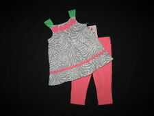"NEW ""CORAL ZEBRA"" Capri Pants Girls Clothes 4T Spring Summer Boutique Toddler"