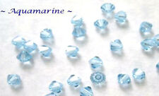 24 AQUAMARINE SWAROVSKI CRYSTAL # 5301 BICONE BEADS 4MM