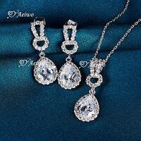 18K WHITE GOLD GF SIMULATED DIAMOND PENDANT NECKLACE STUD EARRINGS WEDDING SET