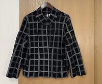 Moth Anthropologie Black White Window Pane Blazer Womens Size XL Pockets