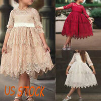 Lace Flower Girls Kids Dress Bridesmaid Wedding Party Prom Princess Summer Gown