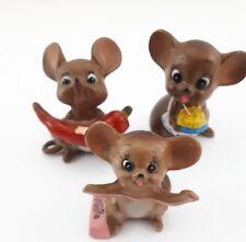 Vintage Josef Originals Mouse Figurines Chili Gum Cake Lot of 3