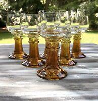 Alt 6 Stück Weingläser Römer Gläser brillant EDEL gelber Stiel Glas Nuppen