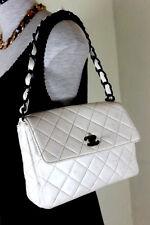 Vintage CHANEL Flap White Leather Quilted Shoulder Bag 2.5 France