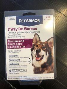 PetArmor 7 Way De-Wormer Med Dogs 25.1-200lbs 6 Chewables #1640