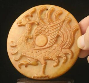Chinese old natural jade hand-carved statue phoenix pendant 3.1 inch