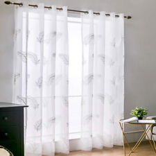 1 Piece Embroidered Feather Sheer Voile Window Curtain Panel Treatment Drapes
