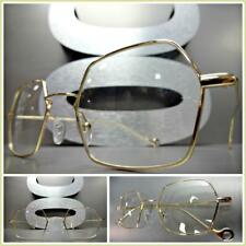 Mens VINTAGE RETRO Style Clear Lens EYE GLASSES Gold Hexagon Metal Fashion Frame