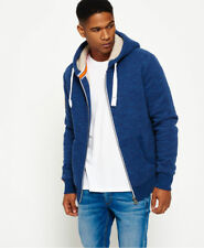New Mens Superdry Orange Label Winter Zip Hoodie Prussian Blue Marl