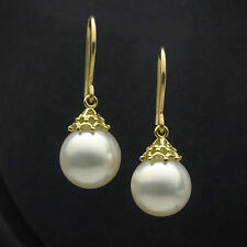 AAA Cream white South Sea Cultured Pearl Ear Drop Earrings 18K Yellow Gold Hook