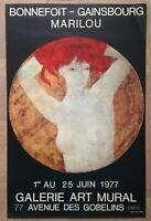 BONNEFOIT GAINSBOURG MARILOU 1977 AFFICHE LITHOGRAPHIEE GALERIE ART MURAL PARIS