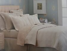 3 pc Fieldcrest Ivory Embroidery Reversible Queen Quilt and Shams Set New
