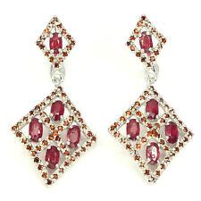 GENUINE Top Blood Red Ruby Orange Mozambique Garnet 925 Sterling Silver Earrings