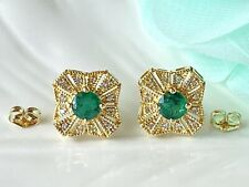 Genuine Emerald & Diamond Solid 14K Yellow Gold Stud Earrings, New