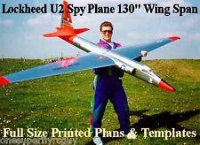 "Lochkeed U-2 Spy Plane 130"" WS 1/8 Scale RC Airplane PRINTED Plans & Templates"