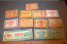 Vintage 12 NABOB coupons, great colors & graphics, Vancouver BC Canada