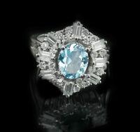 925 Sterling Silver Ring Blue Topaz Natural Gemstone Cocktail Size 4-11