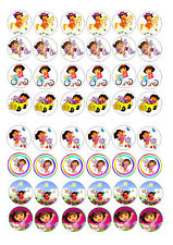 48 MINI DORA BIRTHDAY CAKE CUPCAKE TOPPERS ICED ICING  CAKE BUN TOPPERS