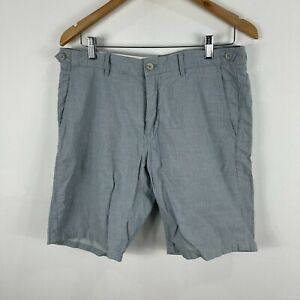 Massimo Dutti Mens Shorts 32 Blue Striped Zip Closure Bermuda Pockets