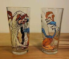 Rare Vtg 1976 Wiley Coyote Road Runner Warner Bros Pepsi Glasses Cups Cartoon