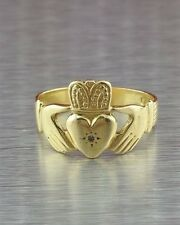 14k YELLOW SOLID GOLD CLADDAGH RING DIAMOND