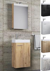 VCM Waschplatz Waschbecken Schrank + Spiegelschrank WC Gäste Toilette Badmöbel