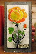 Tableau, Carreau de faïence. Une Rose par Gilbert Valentin. Vallauris, Vintage.