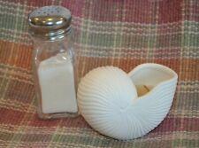 """Ceramic White Seashell Contains Vanilla-Colored Candle 3.5"""" L x 2"""" W x 2.5"""" H"""